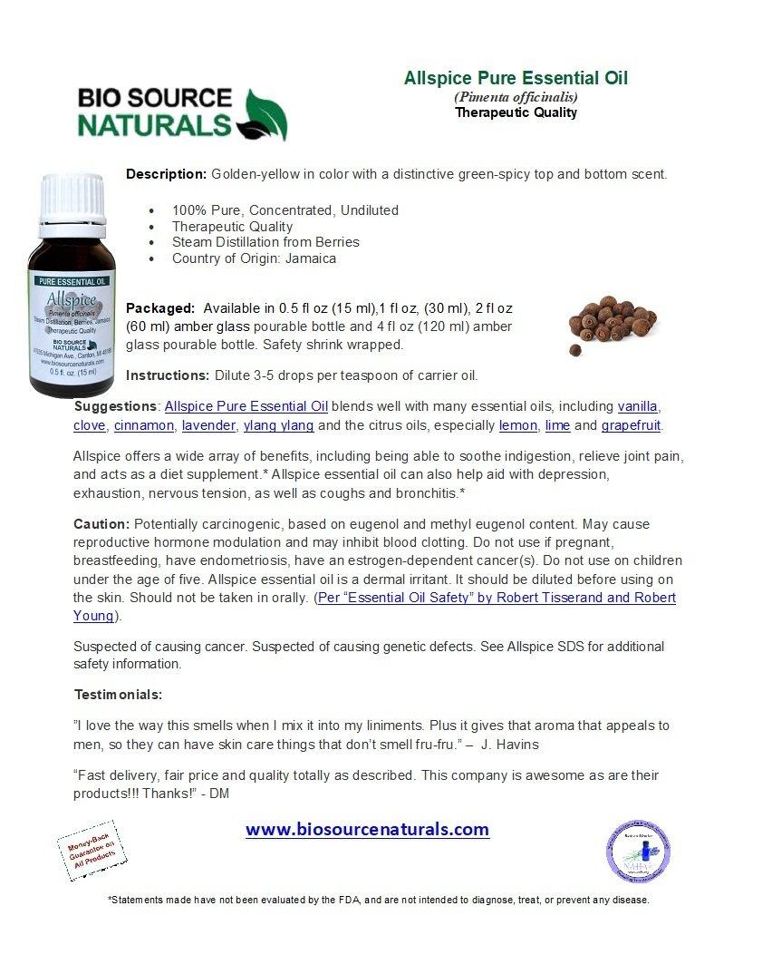 Allspice Pure Essential Oil Analysis Report