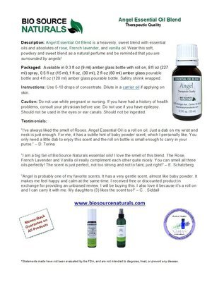 Angel Essential Oil Blend Product Bulletin