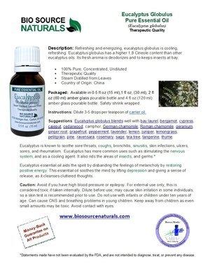 Eucalyptus Globulus Pure Essential Oil Product Bulletin