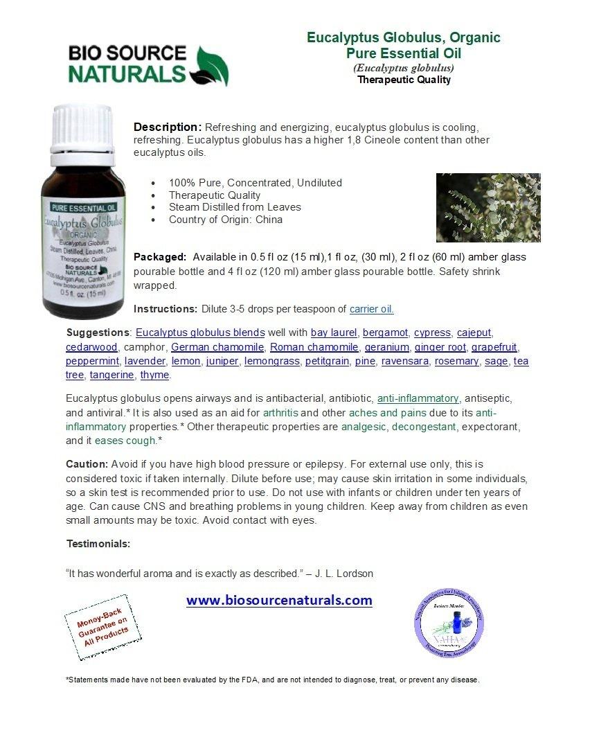 Eucalyptus Globulus Organic Pure Essential Oil