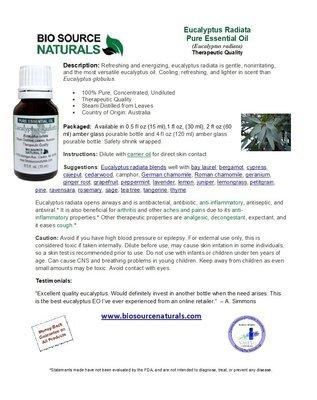 Eucalyptus Radiata Pure Essential Oil Product Bulletin