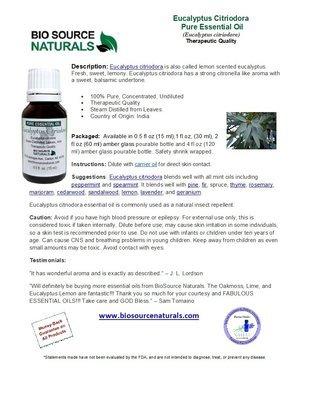 Eucalyptus Citriodora Pure Essential Oil Product Bulletin