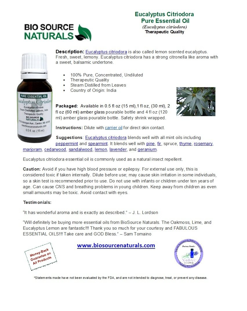 Eucalyptus Citriodora Pure Essential Oil