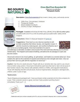 Clove Bud Pure Essential Oil Product Bulletin