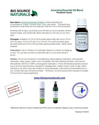 Anointing Essential Oil Blend Product Bulletin