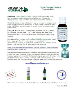 Divine Essential Oil Blend Product Bulletin