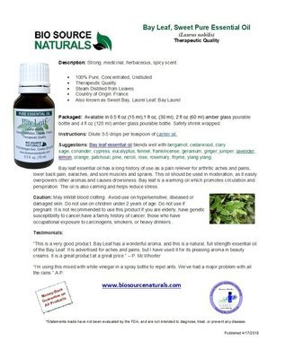 Bay Leaf (Sweet) Pure Essential Oil Product Bulletin