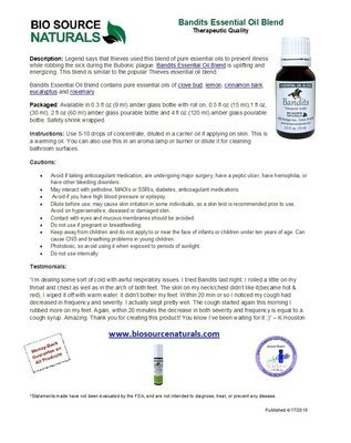 Bandits Essential Oil Blend Product Bulletin