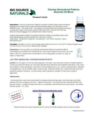 Clearing Generational Patterns Essential Oil Blend Product Bulletin