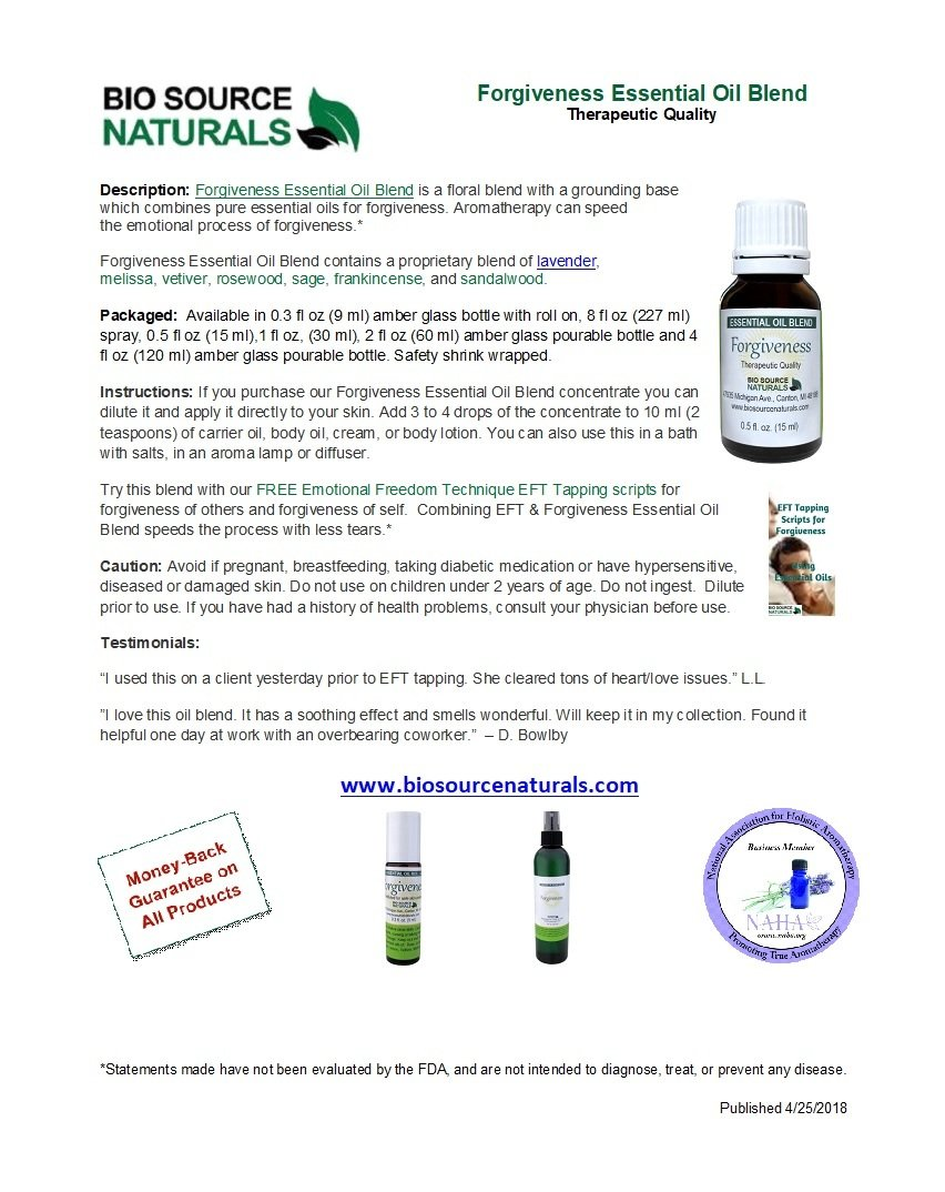 Forgiveness Essential Oil Blend Product Bulletin