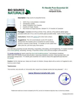 Fir Needle Pure Essential Oil Product Bulletin