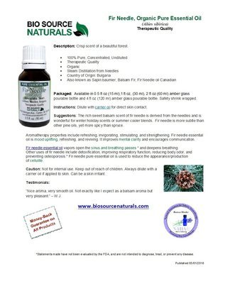 Fir Needle Pure Essential Oil Organic Product Bulletin