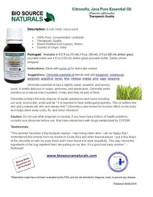 Citronella Pure Essential Oil - Java Type - Product Bulletin