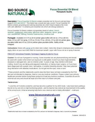 Focus Essential Oil Blend Product Bulletin