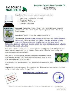 Bergamot Organic Pure Essential Oil Product Bulletin
