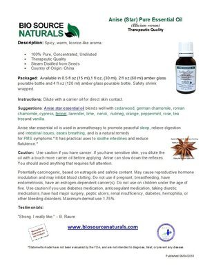 Anise Star Pure Essential Oil Bulletin