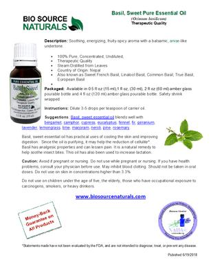 Basil (Sweet) - Linalool CT - Pure Essential Oil Product Bulletin