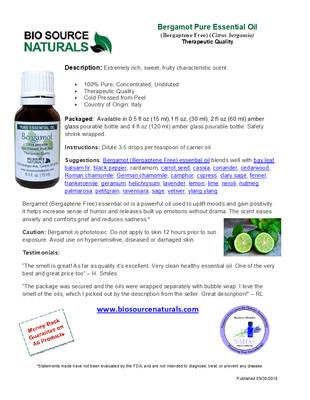 Bergamot (Bergaptene Free) Pure Essential Oil Product Bulletin