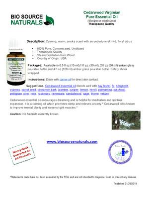 Cedarwood Pure Essential Oil - Virginian - Product Bulletin