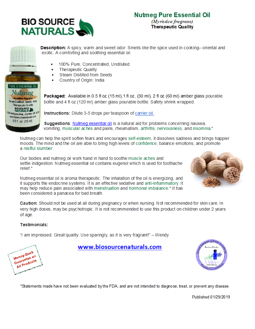 Nutmeg Pure Essential Oil with Analysis Report
