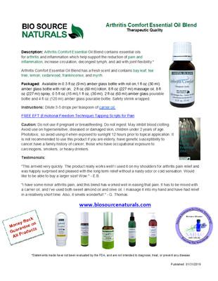 Arthritis Comfort Essential Oil Blend Product Bulletin