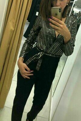 Tuta jumpsuit donna elegante nera argento taglia s m l incrociata con paillettes
