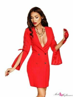 Abito donna a Escape rosso con scollo av elegante corto allacciatura a bottone