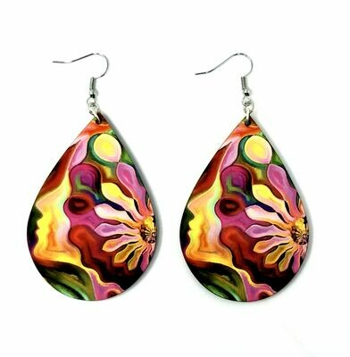 Tear Drop Earrings with Flowergirl Image