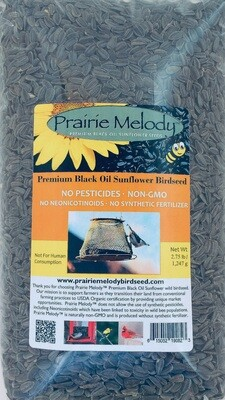 Pesticide Free - Black Oil Sunflower Birdseed - 2.75 lb Clear Bag
