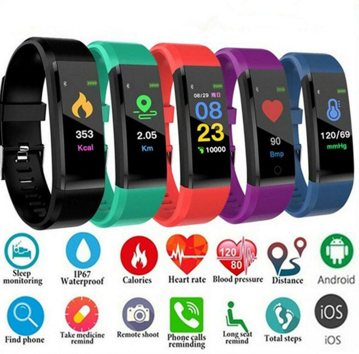 Smart Watch for both Men & Women Heart Rate Monitor, Blood Pressure Monitor,  Fitness Tracker, Smart Watch for ios & Android Device, Call and Message Notifier