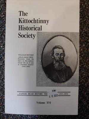 Kittochtinny Historical Society Volume XVI