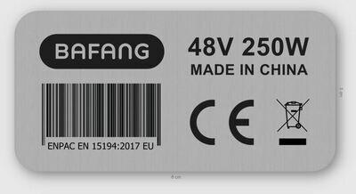 250W Bafang engine sticker