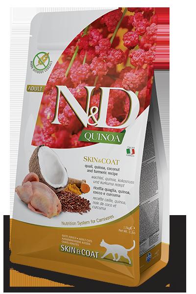 НД Фармина N&D Cat Quinoa Skin&coat Quai перепел, киноа, кокос и куркума, 0,3кг