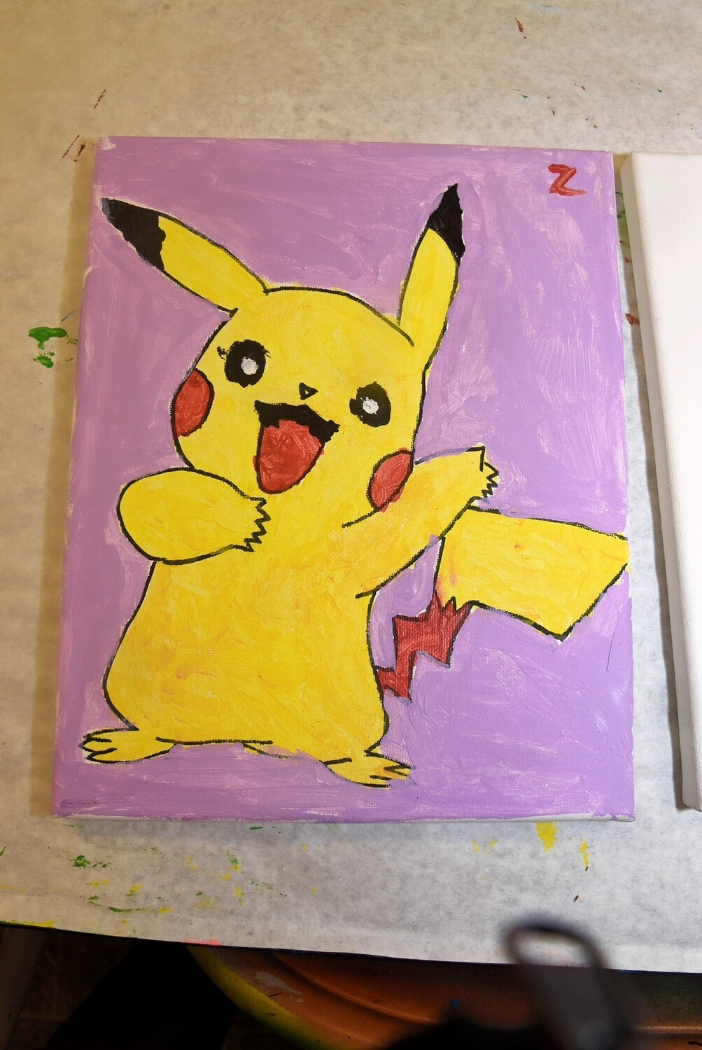 Pikachu Pokemon pre-traced canvas