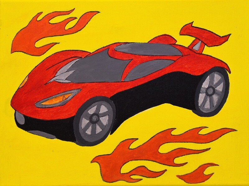 Sport Car pre-traced canvas