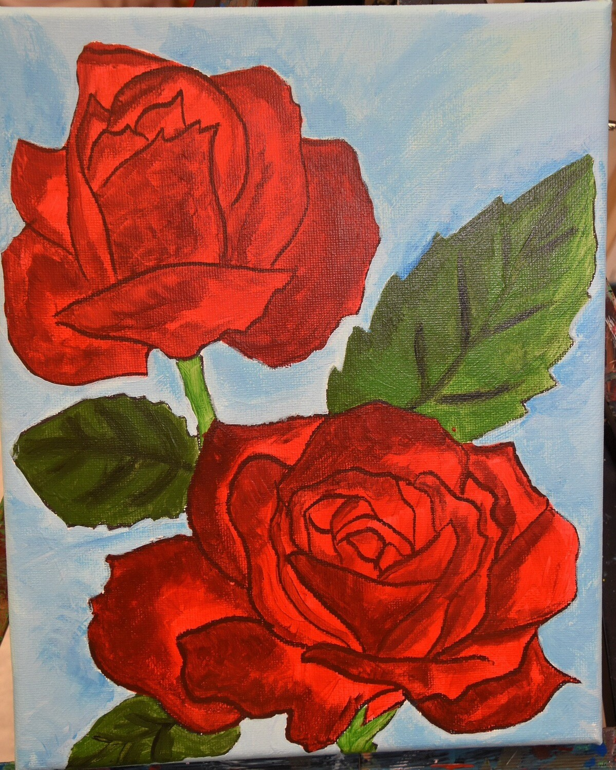 Roses. Pre-Traced Canvas