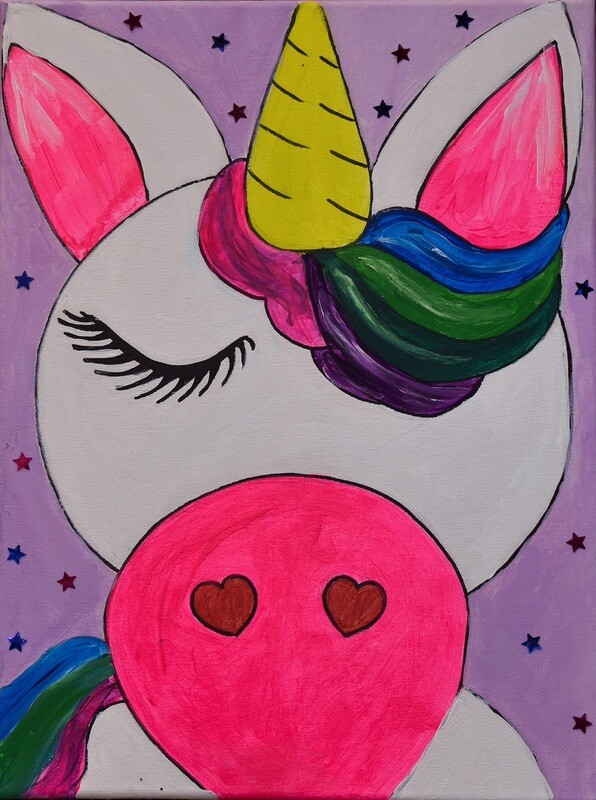 Unicorn Head Pre-traced Canvas