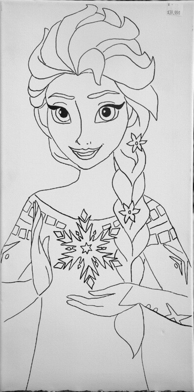 Elsa from Frozen Pre-traced Canvas