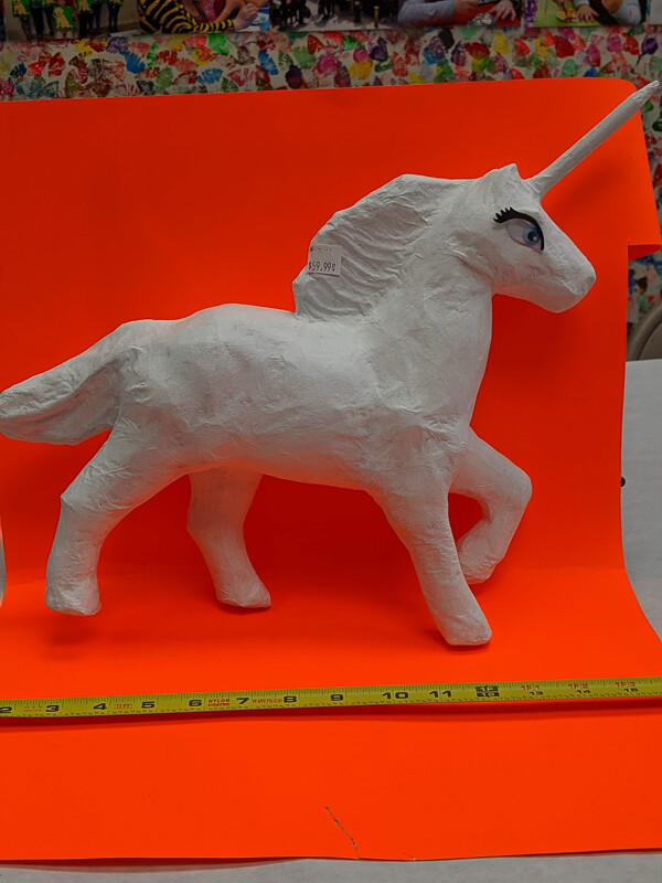 Huge Unicorn figurine to paint. Papier-mâché. Paint your own DIY plastic figurine Art Craft activity
