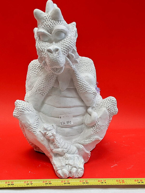 Big Dragon with Baby piggy bank figurine to paint. Paint your own DIY plaster figurine Art Craft activity.