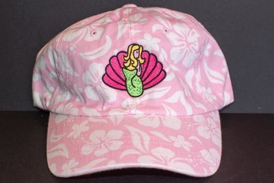 Floral Hat With Mermaid and Shell