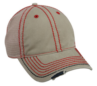 Distressed Cap With Heavy Construction Stitch