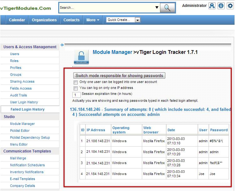 vTiger Login Tracker