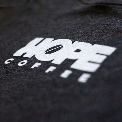 T-Shirt, Long Sleeve: HOPE Coffee Logo:  Charcoal