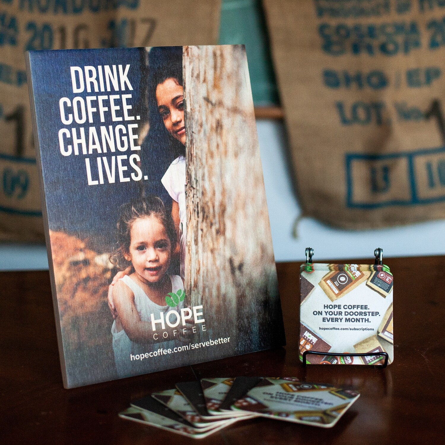 Free HOPE Coffee Display with Purchase for our HOPE Partners