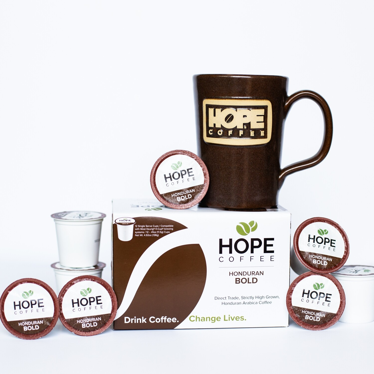 Choose Your Own Stoneware Mug or Tumbler and Box of HOPE Coffee Single Serve Cups