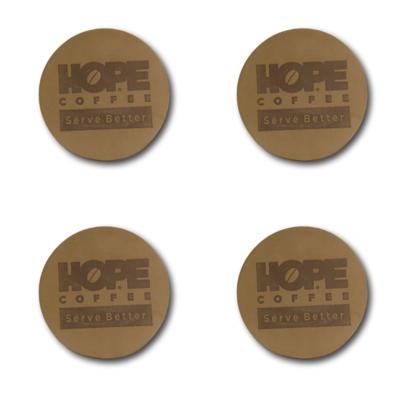 Leather HOPE Coffee Coasters - Set of 4