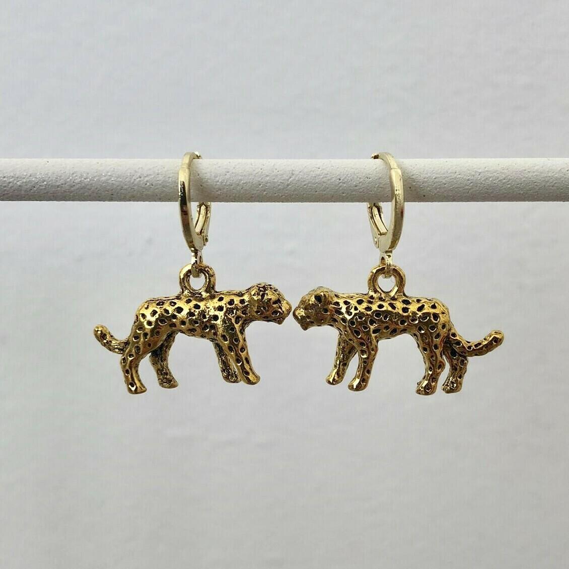 Panter oorbellen goud