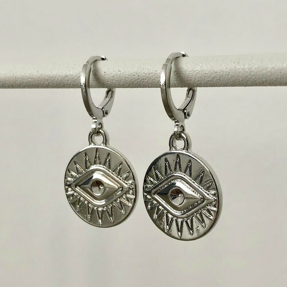Eye coin oorbellen zilver