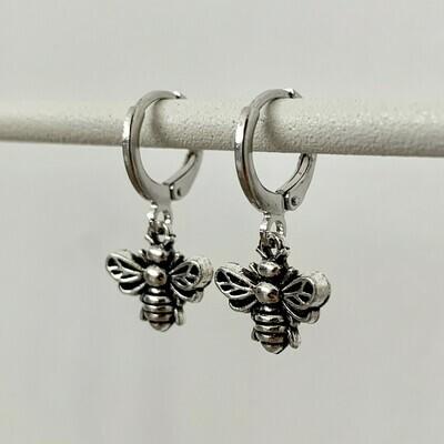 Bijen oorbellen zilver